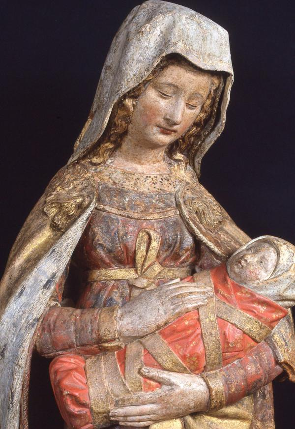 <p>La <em>Vierge Bulliot</em>, sculpture en calcaire polychrome attribuée à Claus de Werve, second quart du XV<sup>e</sup> siècle</p>